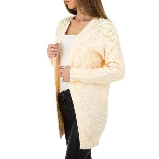 Fashion oversized beige cardigan.