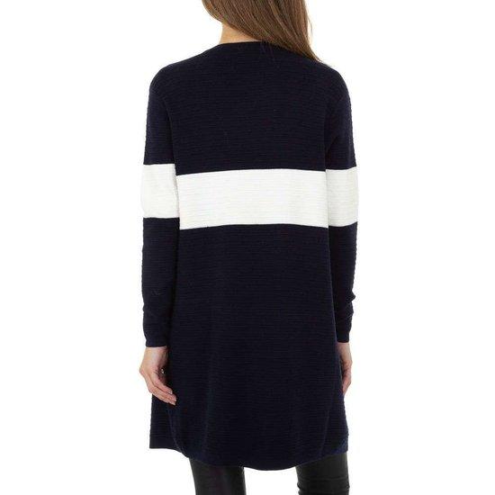 Trendy blauw-witte cardigan.