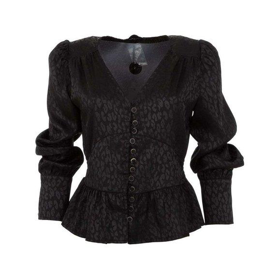 Classy zwarte blouse met motief.