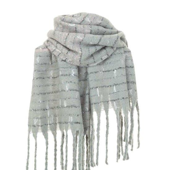 Grijze xxl sjaal met franjes.