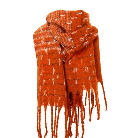 Oranje xxl sjaal met franjes.