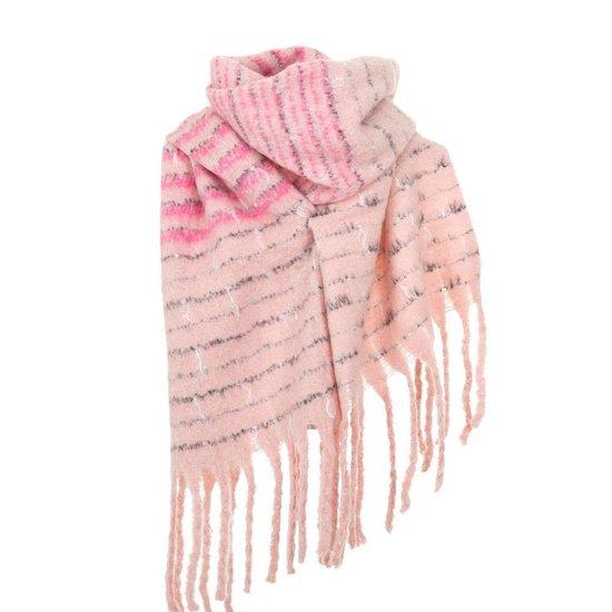 Rose xxl sjaal met franjes.