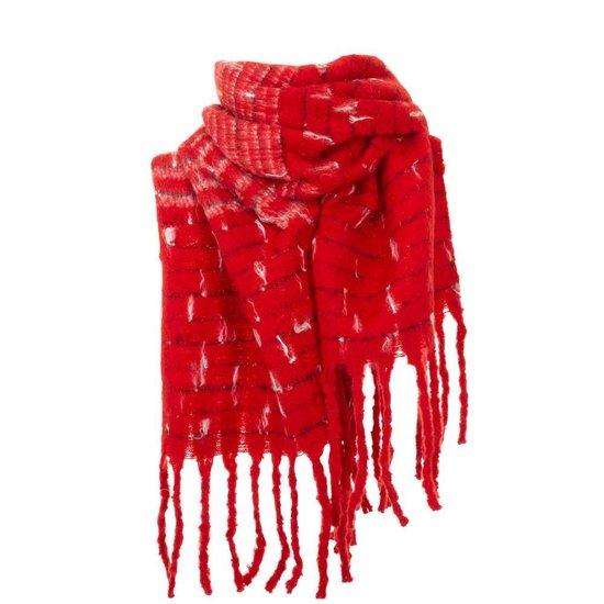 Rode xxl sjaal met franjes.