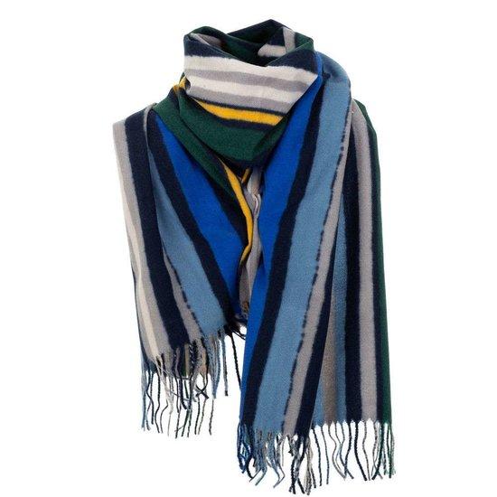 Mixed blauwe xxl sjaal met vertikale lijnen.