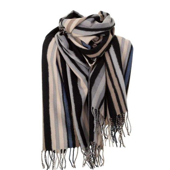 Mixed zwartgrijze xxl sjaal met vertikale lijnen.
