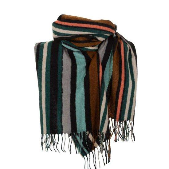 Mixed groene xxl sjaal met vertikale lijnen.