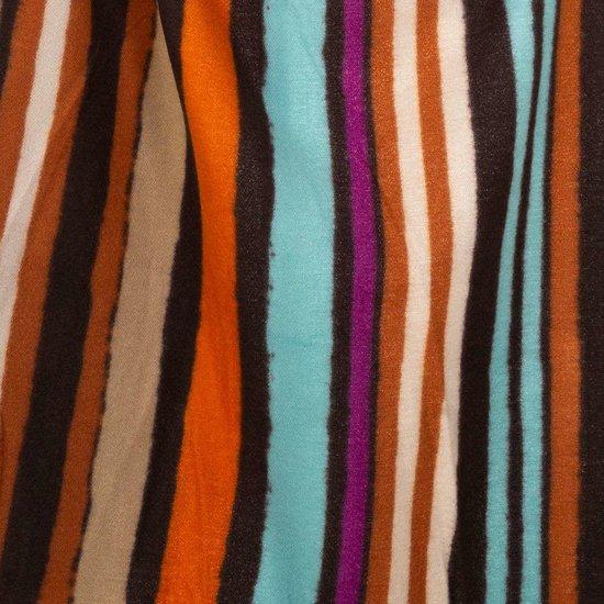 Mixed oranje xxl sjaal met vertikale lijnen.
