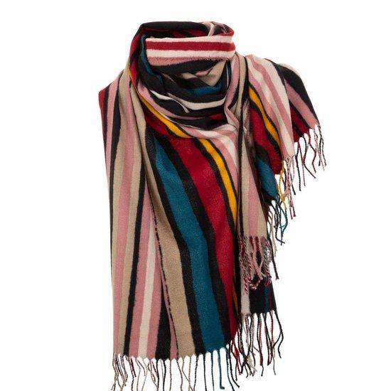Mixed rode xxl sjaal met vertikale lijnen.