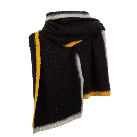 Zwarte xxl sjaal met geel-grijze strepen.