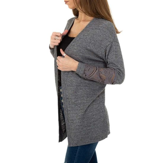 Trendy grijze cardigan met kanten mouwen.