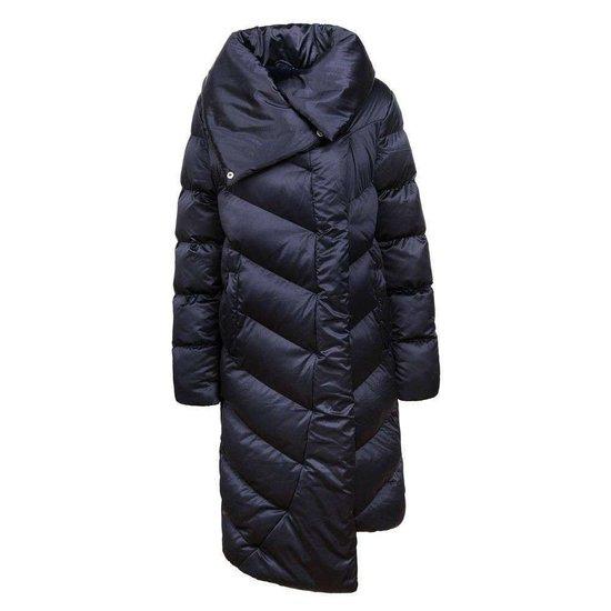 Donker blauwe asymetrische gewatteerde winterjas.