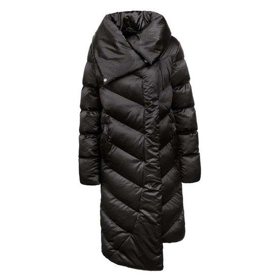 Zwarte asymetrische gewatteerde winterjas.