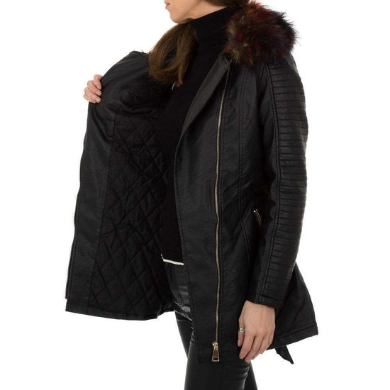 Zwarte biker leatherlook midi jas .