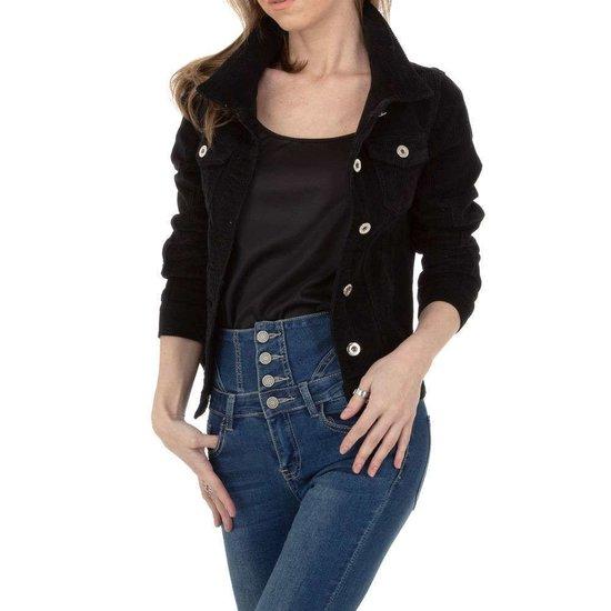 Korte zwarte jacket in wolcord.