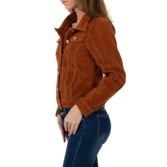 Korte oranje jacket in wolcord.