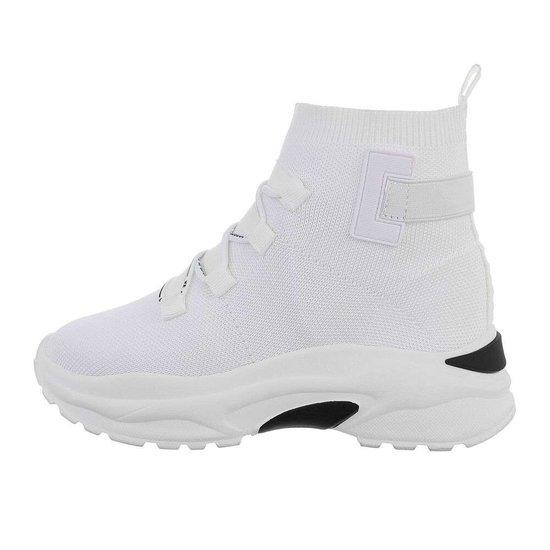 Hoge witte textiel sneaker Aicha.