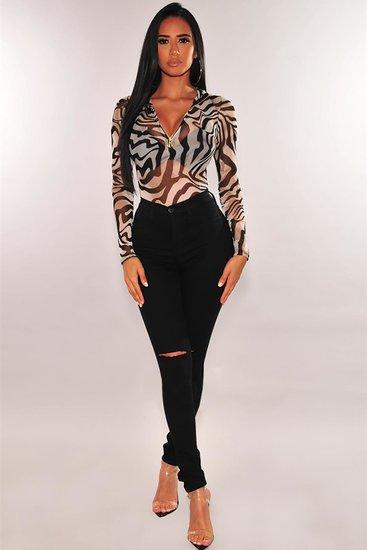 Trendy witte bodysuit met zebra print.