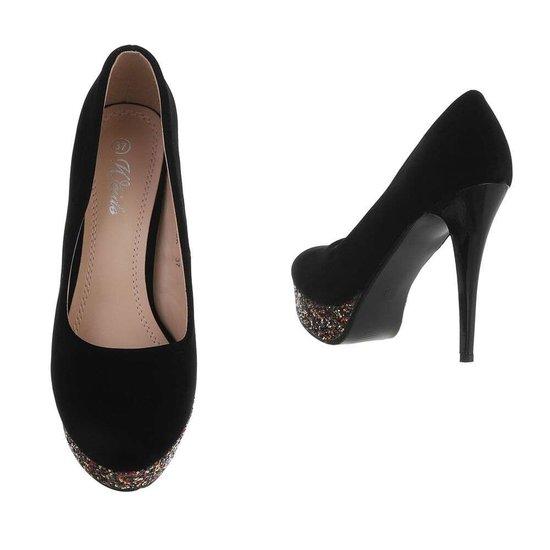 Elegante hoge zwarte/multi pump Carlita.