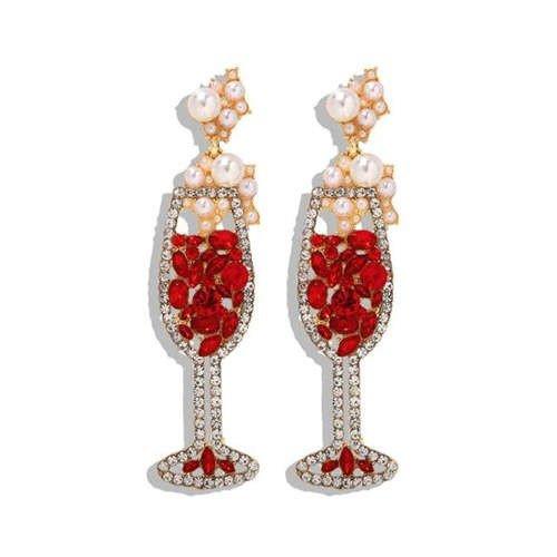 Goud/rode oorbellen vorm champagneglas.
