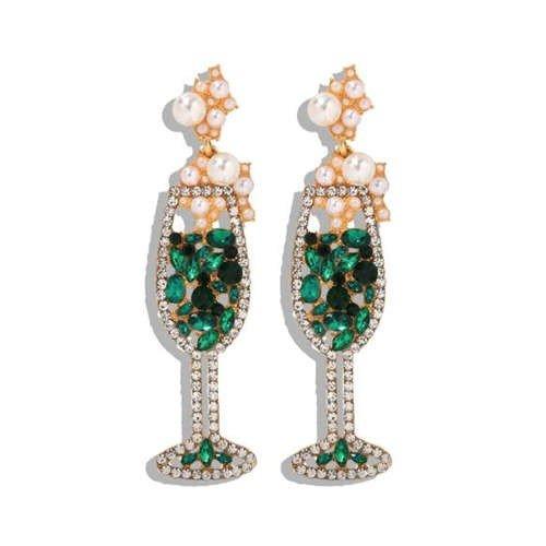 Goud/groene oorbellen vorm champagneglas.