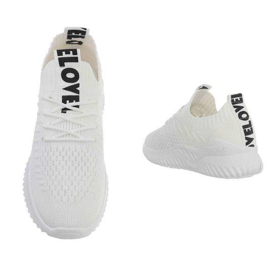 Hippe witte lage textiel sneaker Anuschka.
