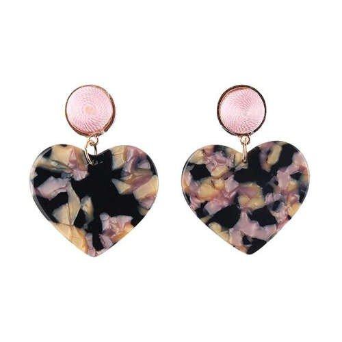 Fashion zwarte/mix oorbellen in hartvorm.