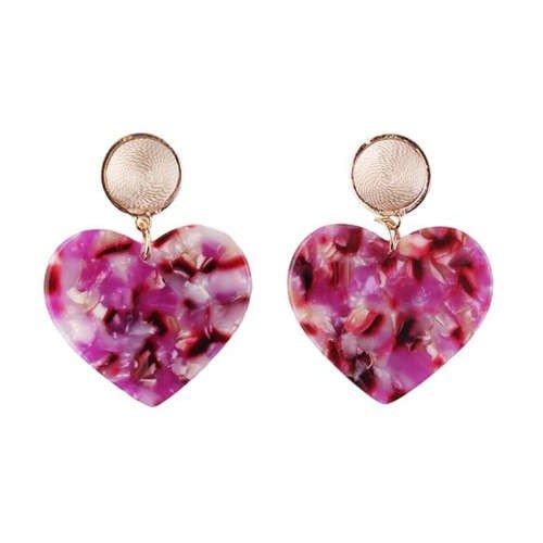 Fashion rose/mix oorbellen in hartvorm.