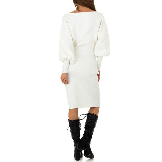 Trendy witte midi truijurk.
