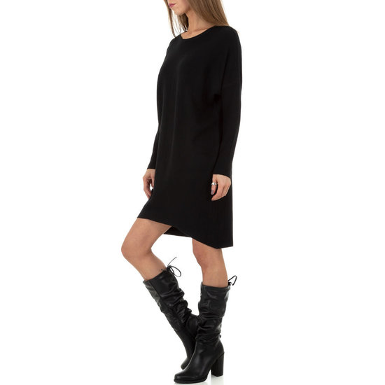 Trendy zwarte oversized truijurk.