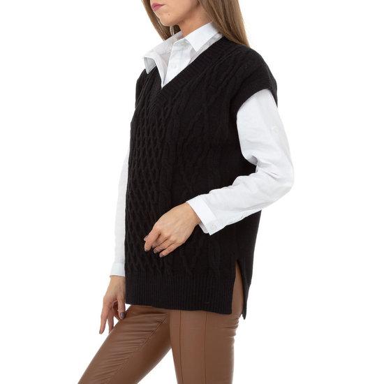 Trendy zwarte mouwloze pullover.