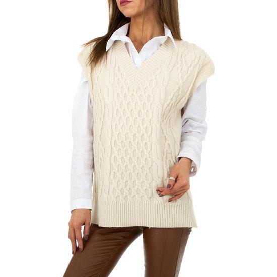 Trendy cream mouwloze pullover.