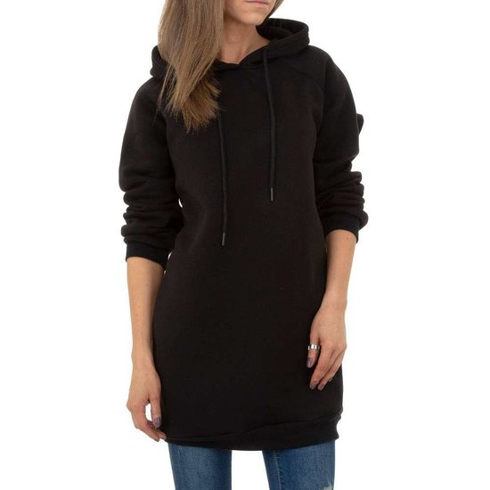 Hippe zwarte sweater- long pullover.