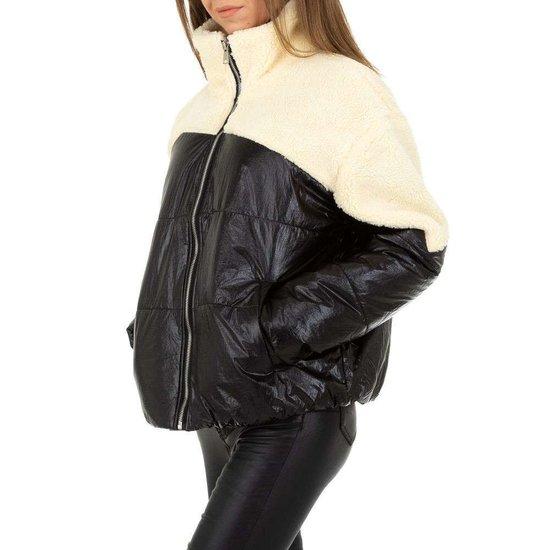 Mixed oversized two tone gewatteerde winter jacket.