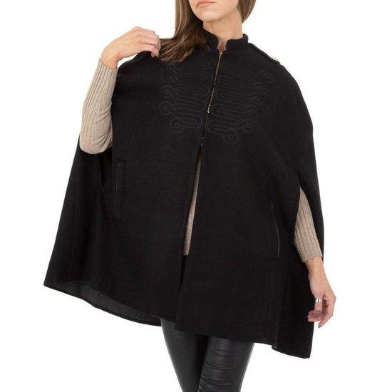 Zwarte militaire korte cape jas.