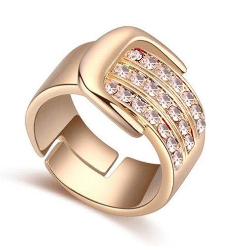 Classy  gold plated ring met rose bergkristallen.