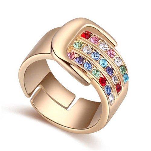 Classy  gold plated ring met rainbow bergkristallen.