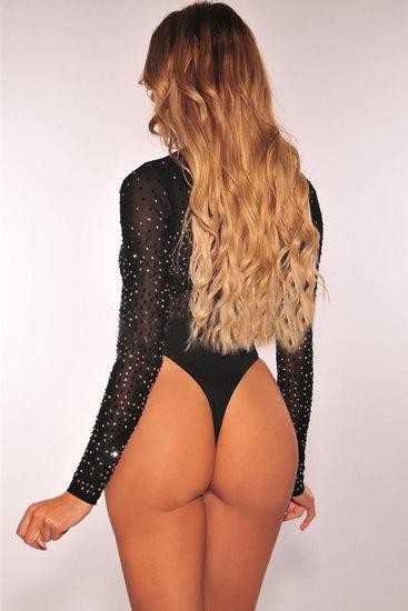Trendy zwarte bodytop met strass.