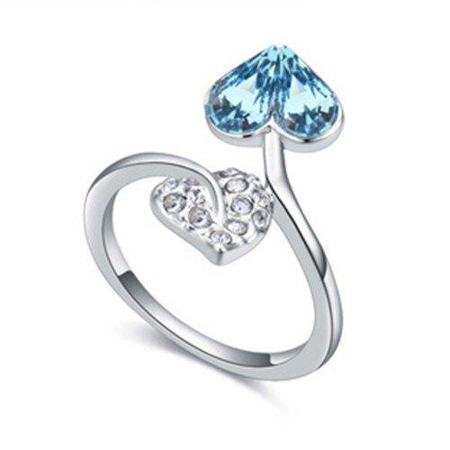 Ring met blauw hart.