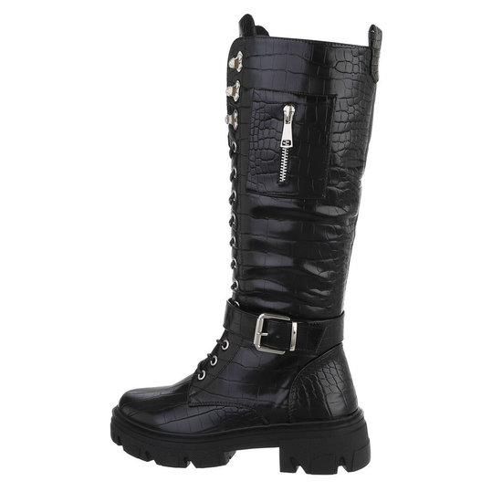 Fashion hoge zwarte boot in crocoprint Kiona.