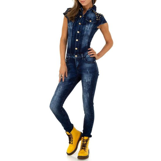 Trendy mouwloze destroyed jeans jumpsuit.