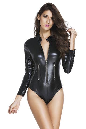 Sexy zwarte leatherlook bodysuit.