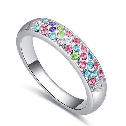 Platinium plated multicolour ring.