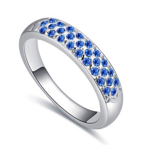 Platinium plated blauwe ring.