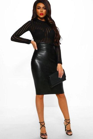 Trendy zwarte hoge col bodysuit.
