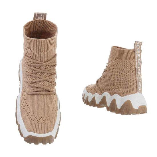 Trendy beige hoge textiel sneaker Felice.SOLD OUT