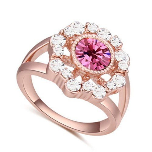 Classy rose goldplated ring met rose-witte bergkristallen.