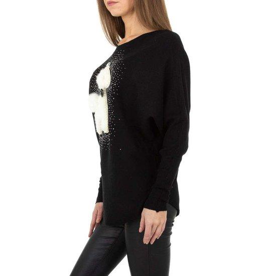 Zwarte rib gebreide pullover met motief.