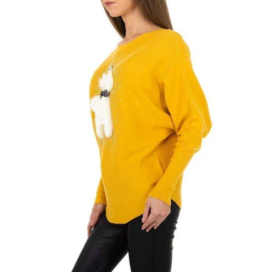Gele rib gebreide pullover met motief.