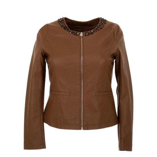 Korte bruine leatherlook jacket.Plus size.