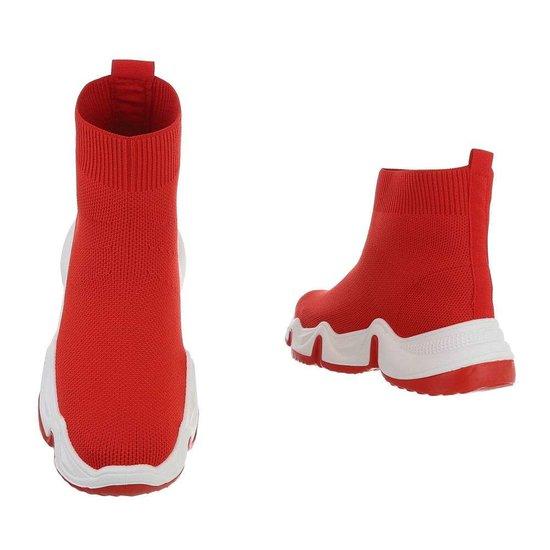 Fashion hoge rode textiel sneaker Neta.